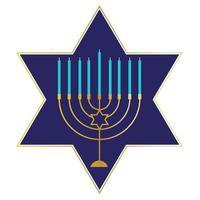 Gold Hanukkah menorah on blue Jewish star vector
