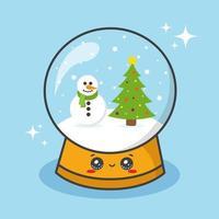 Christmas snow globe ball vector