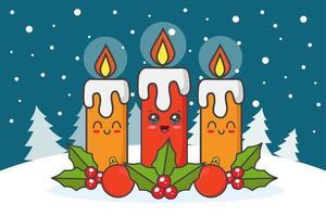 velas de navidad kawaii vector