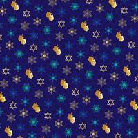 happy Chanukah Jewish star on patterned background vector