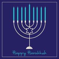 Silver Hanukkah menorah graphic on blue vector