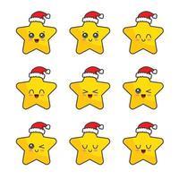 Christmas star character set collection vector