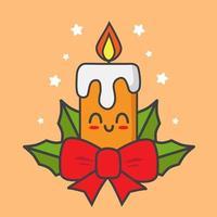 vela de navidad kawaii vector