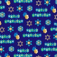 Happy Chanukah pattern with dreidels and stars on blue