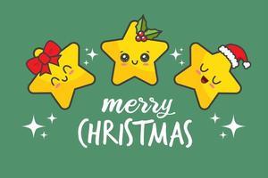 Kawaii Christmas Stars vector