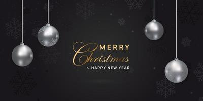 feliz navidad negro con adornos plateados y copos de nieve vector