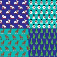 patrones de árbol de navidad, renos, muñecos de nieve y osos polares vector