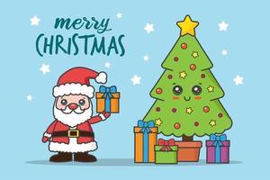 tarjeta de navidad kawaii con santa y árbol