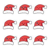 Christmas Santa hat character set collection vector