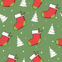 Christmas Seamless Pattern with Stocking and Tree