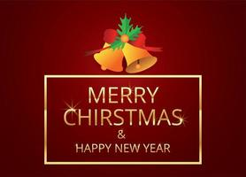 Merry Christmas and happy new year on red vector