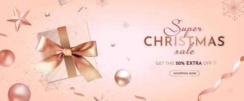 Christmas Super Sale Banner with Realistic Christmas Decoration vector
