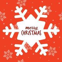 tarjeta de navidad roja con copos de nieve