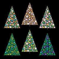 Gradient ornament Christmas trees vector