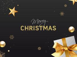 Golden Luxury Merry Christmas Poster with Gift vector