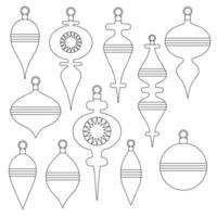 Sellos digitales de adornos de árbol de navidad de contorno negro vector