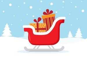 tarjeta de navidad con trineo en escena de invierno vector