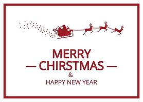 Merry Christmas and Santa in sleigh in red and white vector