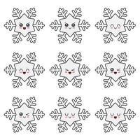 colección de conjunto de caracteres de copo de nieve de navidad