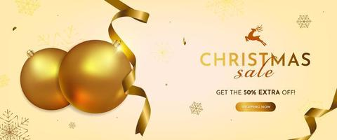 Realistic Christmas Banner with Gold Decoration
