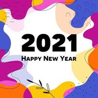 Happy new year 2021 abstract shape design vector