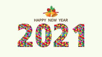 Happy new year 2021 colorful dots typography