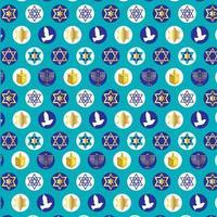 patrón de hanukkah con dreidels, menorahs, palomas, estrellas