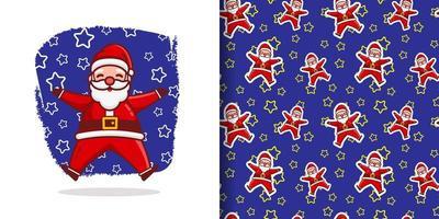 Christmas Cute Jumping Santa Cartoon Pattern With Stars vector