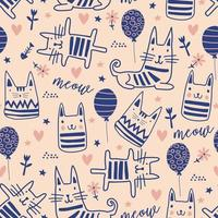 Cat seamless pattern with cute doodle drawing. vector