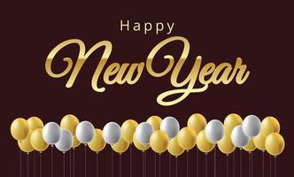 feliz año nuevo globos y números de metal dorado