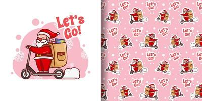 Christmas Cute Santa With Scooter Cartoon Pattern vector