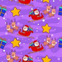 Seamless pattern with cute Santa Claus on sleigh vector