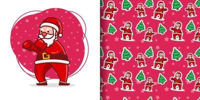 Christmas Cute Boxing Santa Cartoon Pattern vector