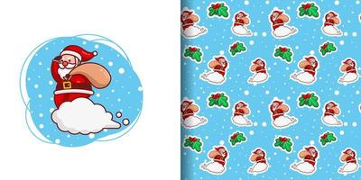 Christmas Cute Santa Delivering Gifts Cartoon Pattern vector