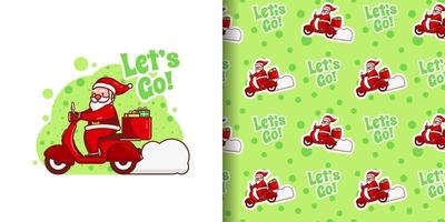 Christmas Cute Santa Delivering Gifts on Motorcycle Cartoon Pattern vector