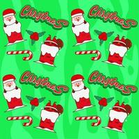 Seamless pattern with cute Santa stuck in chimney vector