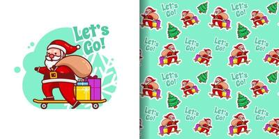Christmas Cute Santa Delivers Gifts on Skateboard Cartoon Pattern vector