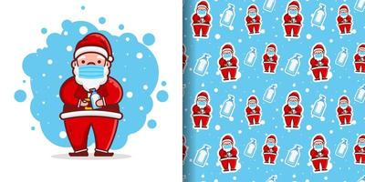 Christmas Cute Santa Wearing Mask Cartoon Pattern vector
