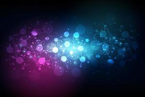 Abstract molecules technology dark blue background vector