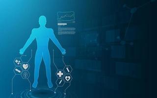 Interfaz hud con fondo de concepto de holograma virtual vector