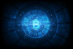 Futuristic high-tech Bitcoin background vector