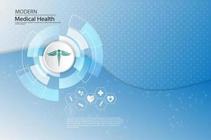 Medical icons on abstract tech background