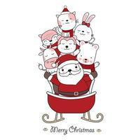 Christmas greeting with santa and cute animals in sled