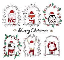 diseño navideño con lindos animales en marcos florales