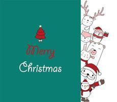Christmas greeting card with Santa and cute friends vector