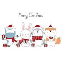 diseño navideño con lindos animales con regalos