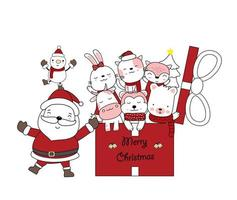 Christmas greeting with Santa and cute animals in gift vector