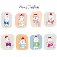 Christmas greeting with cute baby animals in Santa hats