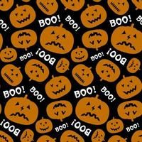 Halloween seamless pattern with pumpkin and text Boo.