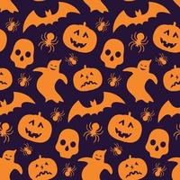 Pattern with silhouette of pumpkin, bat, ghost and skull. vector